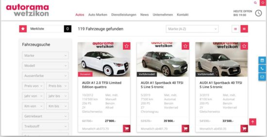 Erweiterte Website - Autorama AG Wetzikon 4